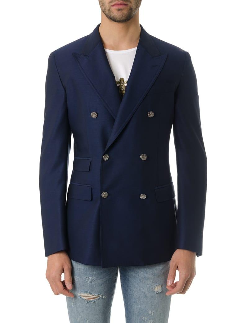 Dolce & Gabbana Navy Blu Wool Twofold Jacket - Blu
