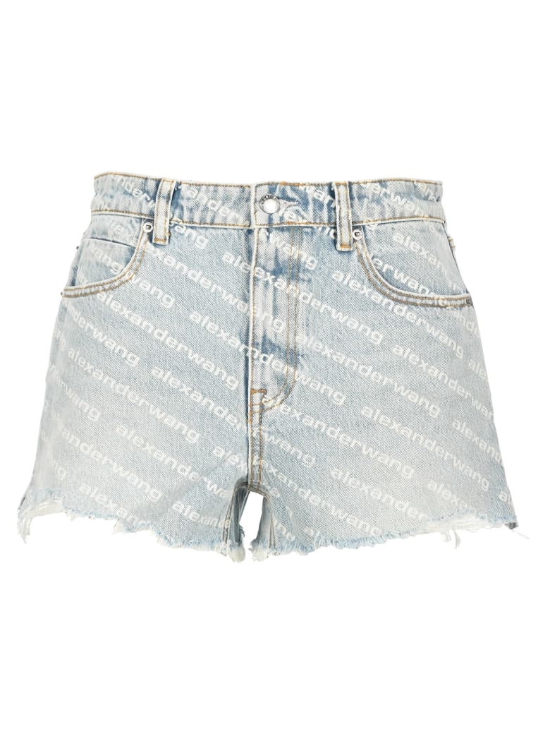 T by Alexander Wang Diagonal Logo Shorts - LIGHT BLUE
