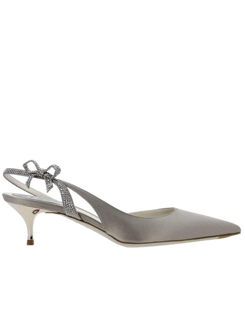 René Caovilla Rene Caovilla High Heel Shoes Rene Caovilla Sling Back In Satin With Rhinestones - pearl