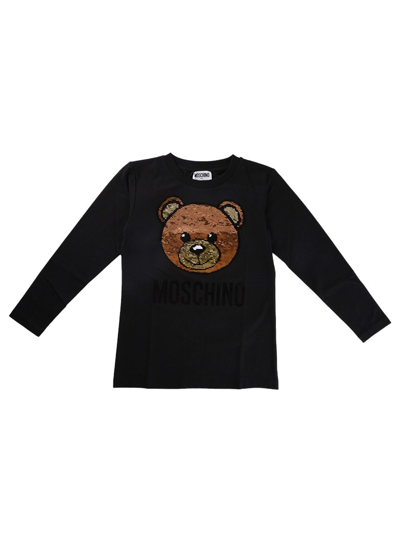 Moschino Black Long Sleeve T-shirt With Sequin Bear - Black