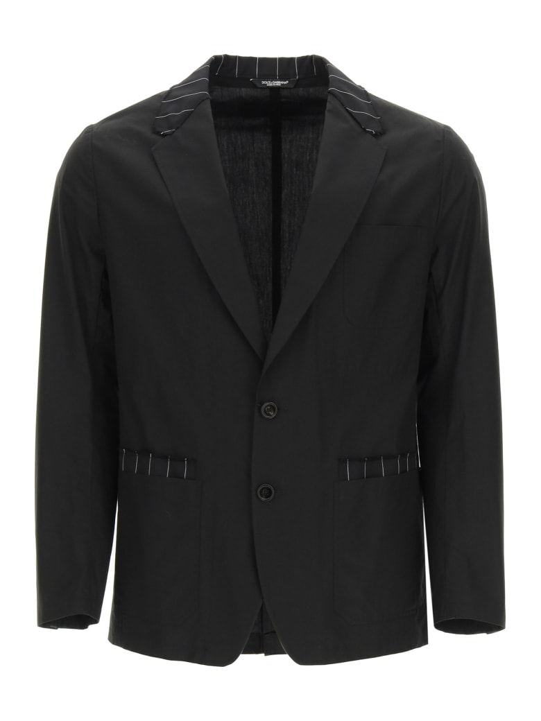 Dolce & Gabbana Tailored Blazer In Cotton And Pinstripe Wool - Nero