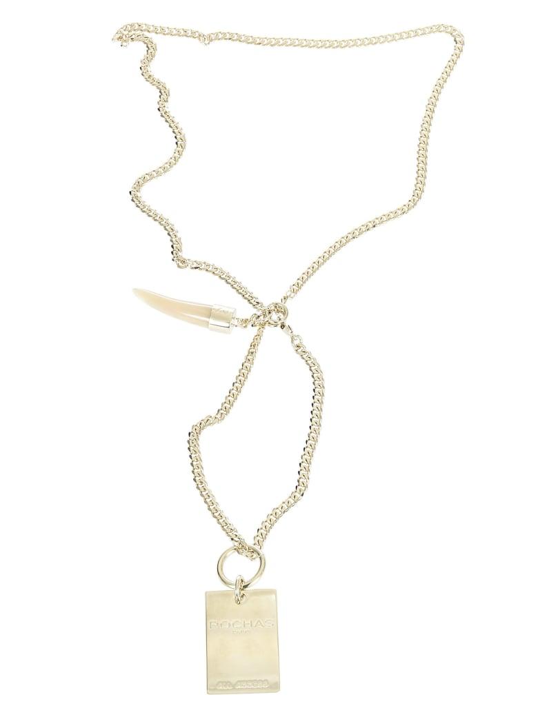 Rochas Fang Pendant Necklace - Gold