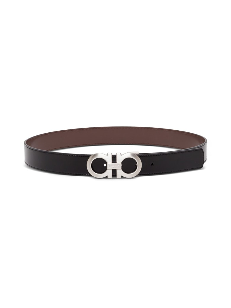Salvatore Ferragamo Reversible Bicolor Leather Belt With Double Hook Buckle - Black