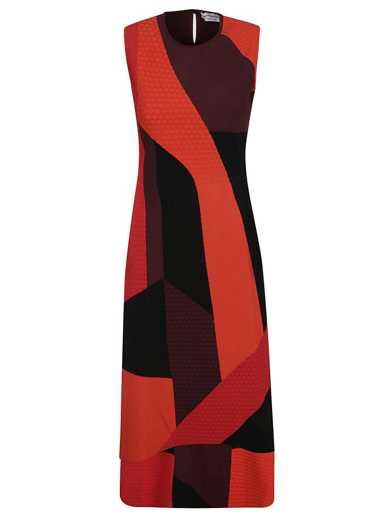 Alexander McQueen Sleeveless Slim Dress - Red/black/damson
