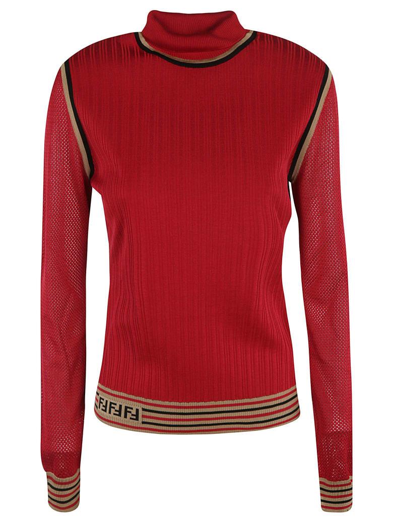 Fendi Silk Ribs Sweater - red
