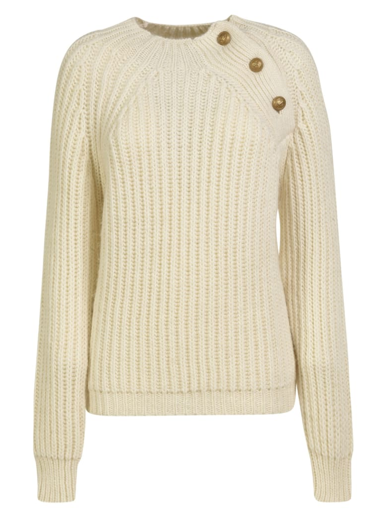 Department 5 Shoulder-Button Detail Ribbed Knit Sweater - White