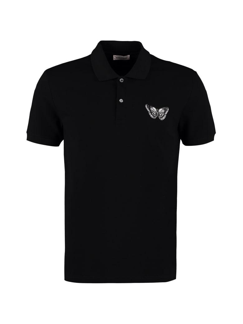 Alexander McQueen Embroidered Cotton-piqué Polo Shirt - black