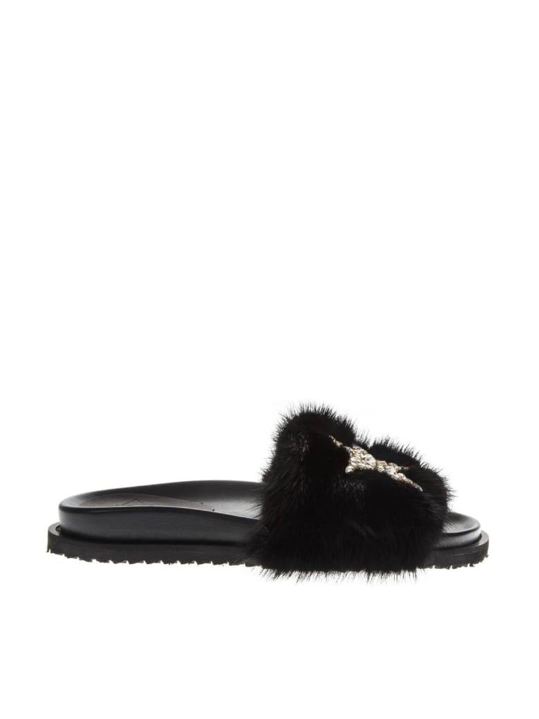 Emanuela Caruso Embellished Brown Mink Sandals - Black
