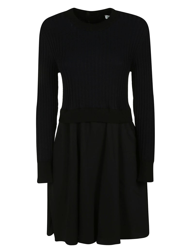 Kenzo 2 In 1 Mixed Knitted Dress - black