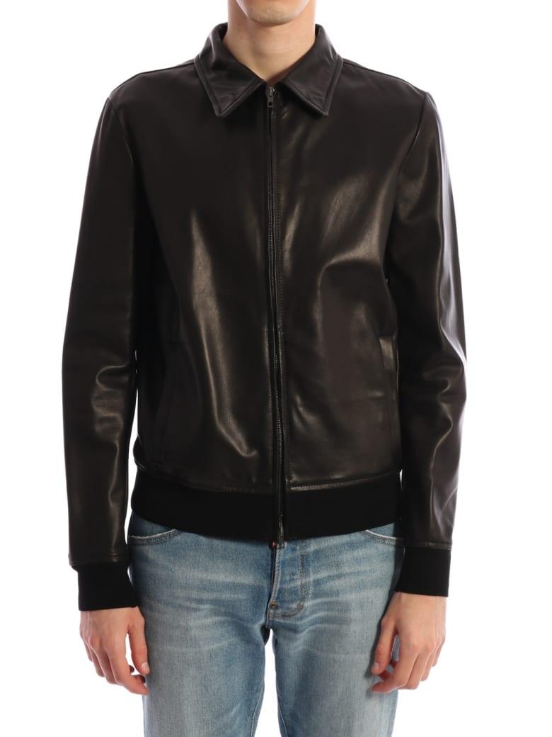 Salvatore Santoro Black Leather Jacket Black - Black