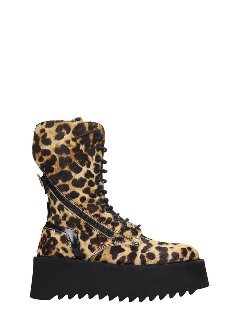 Bruno Bordese Ripple Boot Combat Boots In Animalier Pony Skin - Animalier