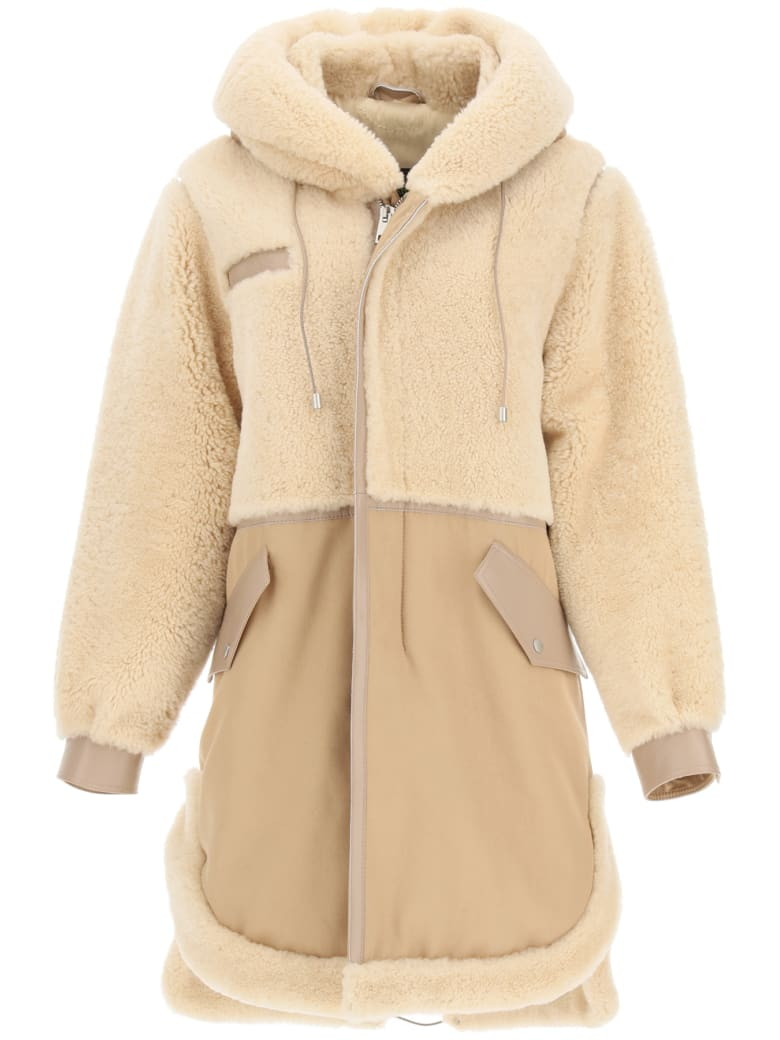 Mr & Mrs Italy Cotton Parka With Leather And Shearling Inserts - CAPPUCCINO BEIGE (Beige)