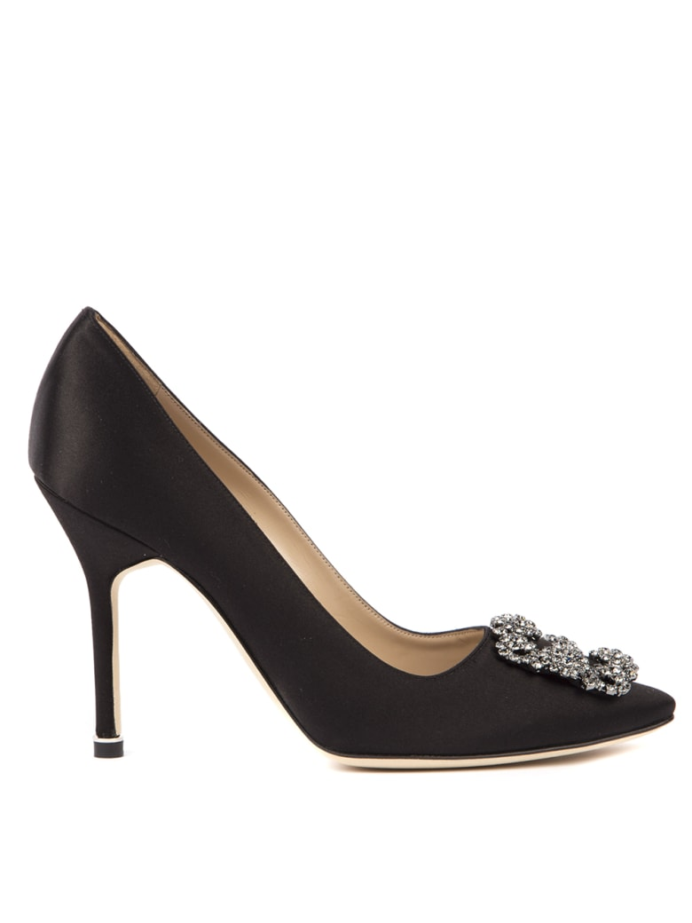 Manolo Blahnik Hangisi Black Satin & Leather Pumps - Black