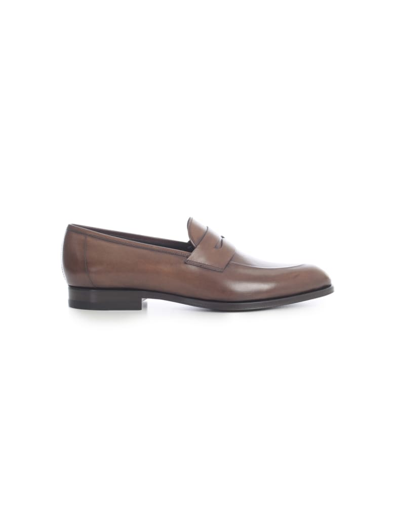 Tagliatore Loafer Leather Shoes - Castagna