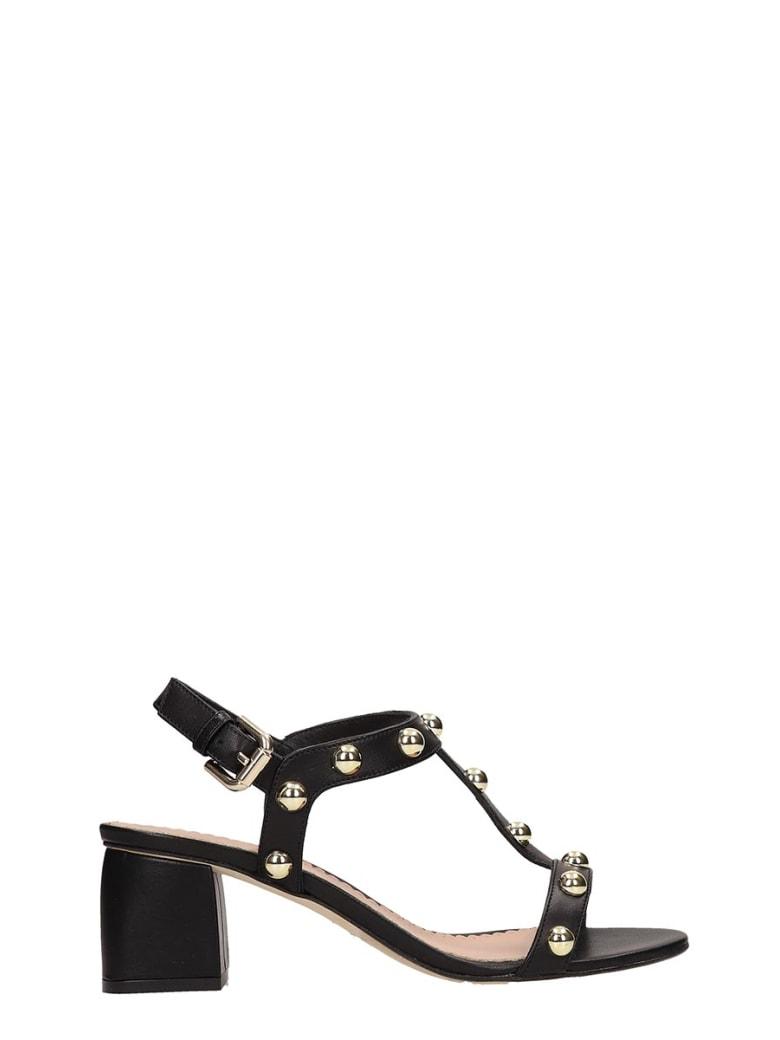 Julie Dee Black Calf Leather Sandals - black
