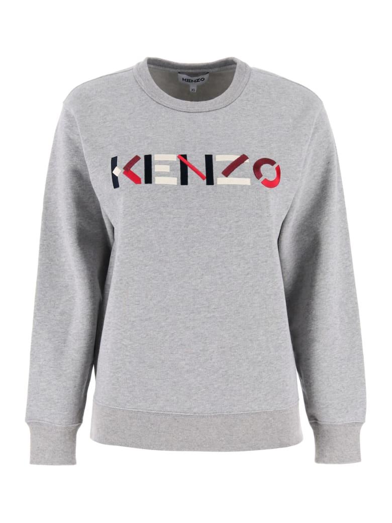 Kenzo Sweatshirt With Logo Embroidery - Grigio chiaro