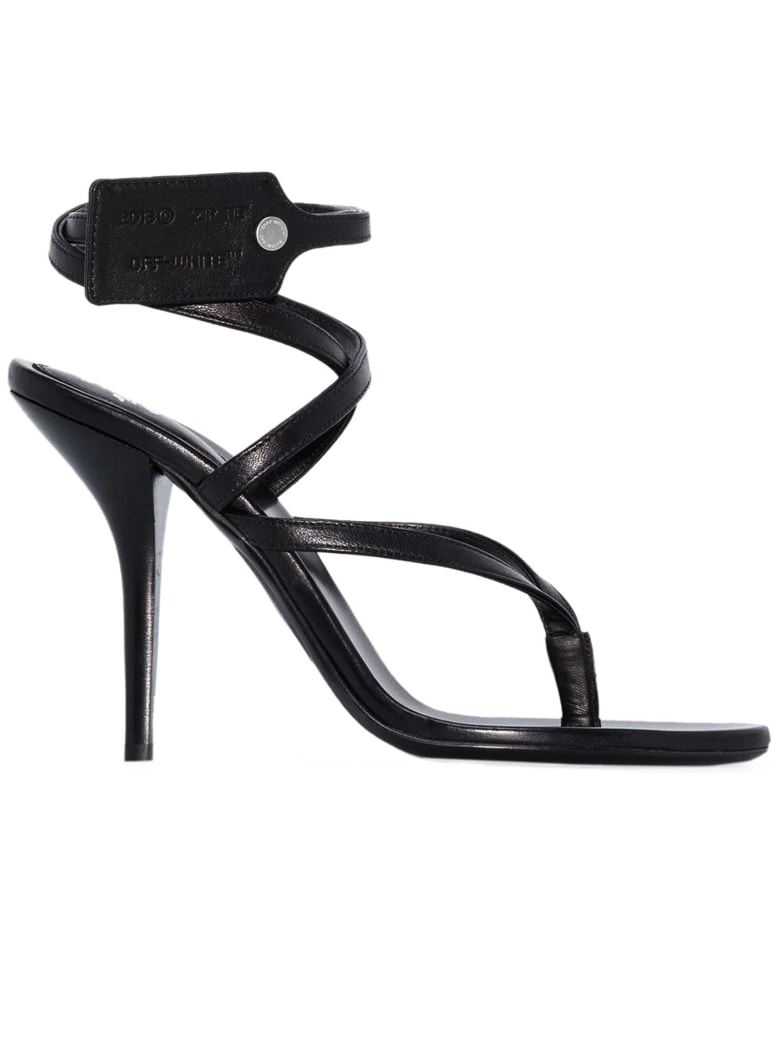 Off-White Black Leather Sandals - Nero