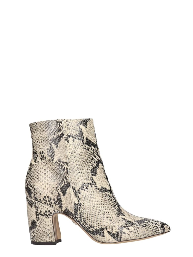 Sam Edelman Hilty High Heels Ankle Boots In Animalier Leather - Animalier