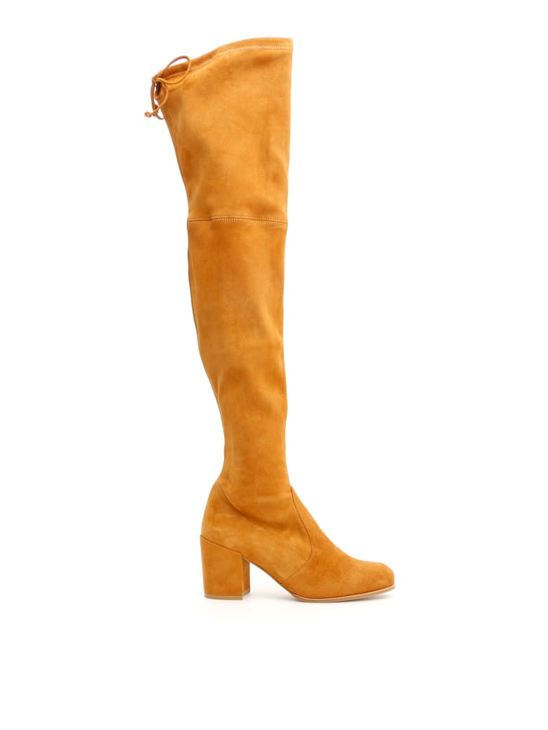 Stuart Weitzman Suede Tieland Boots - BRIDLE (Beige)