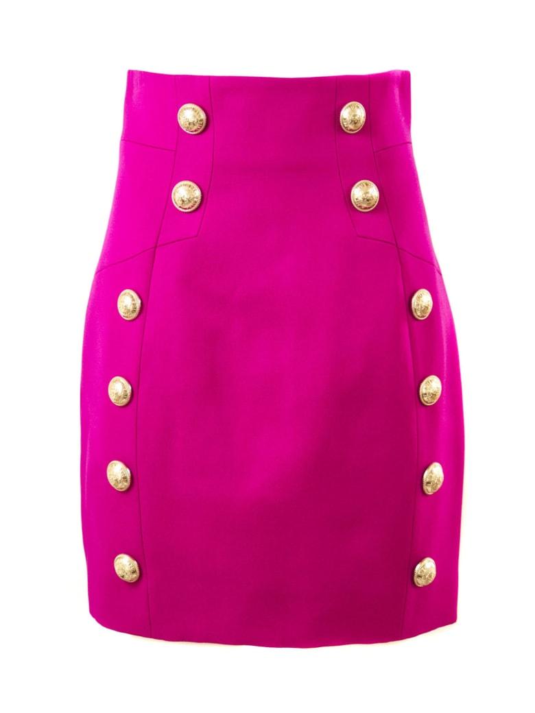 Balmain Fuchsia Wool Skirt - Fuxia