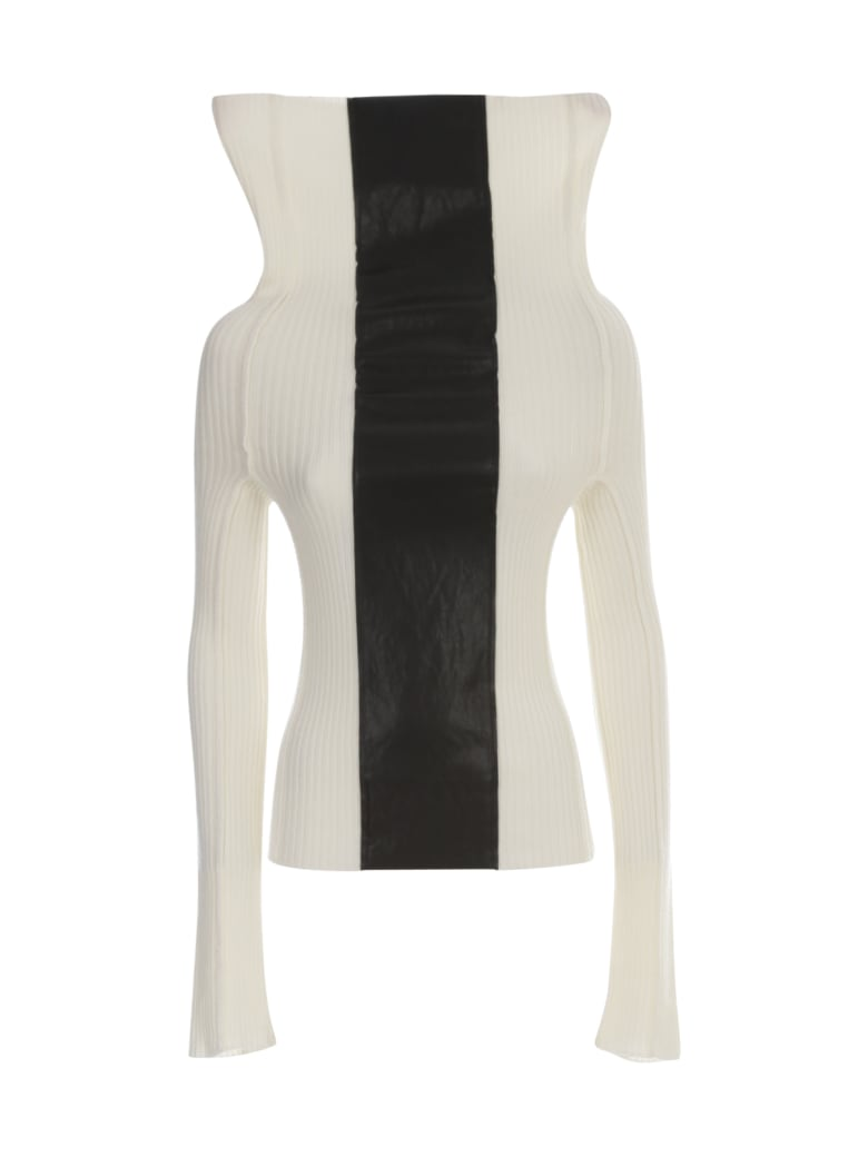 PierAntonioGaspari Ribbed Turtle Neck Sweater W/faux Leather Insert - Ecru Nero