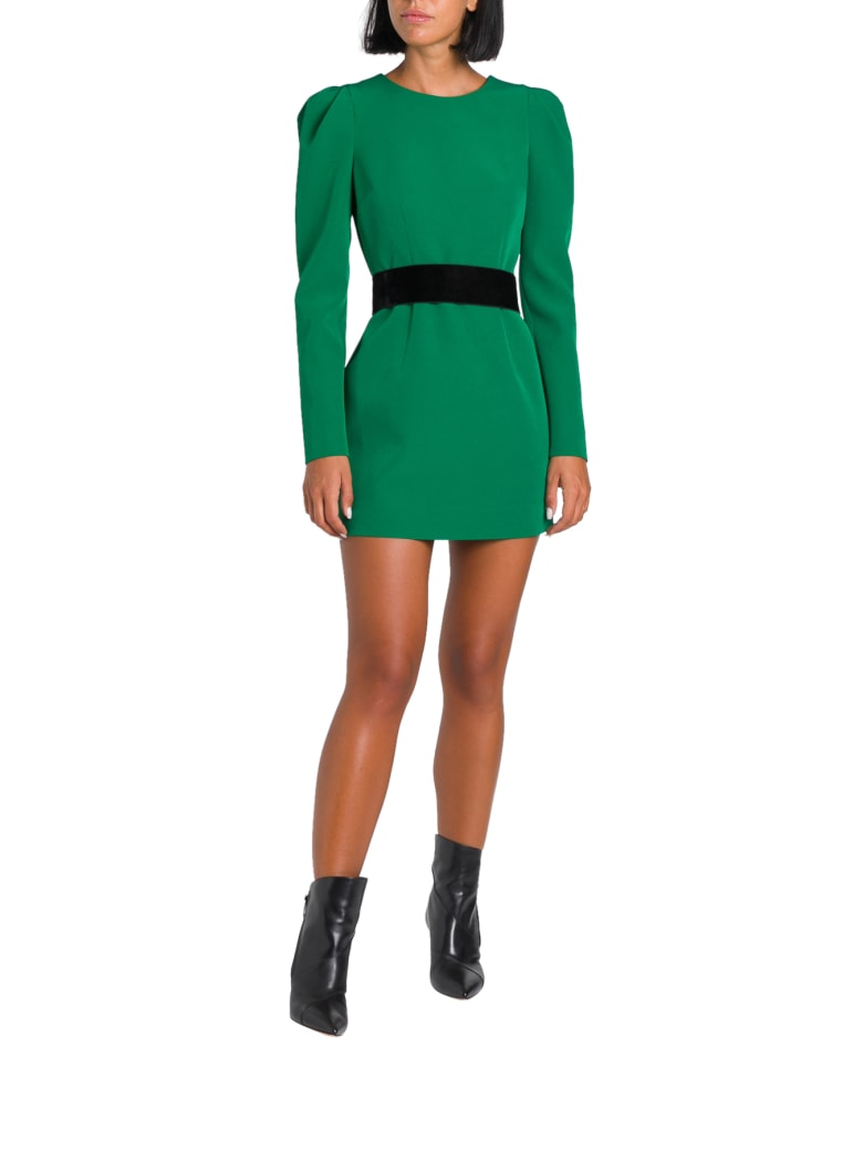 Parosh Short Dress With Puffed Sleeves - Verde
