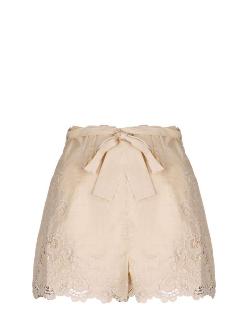 Zimmermann Brighton Scallop Shorts - Nude & Neutrals