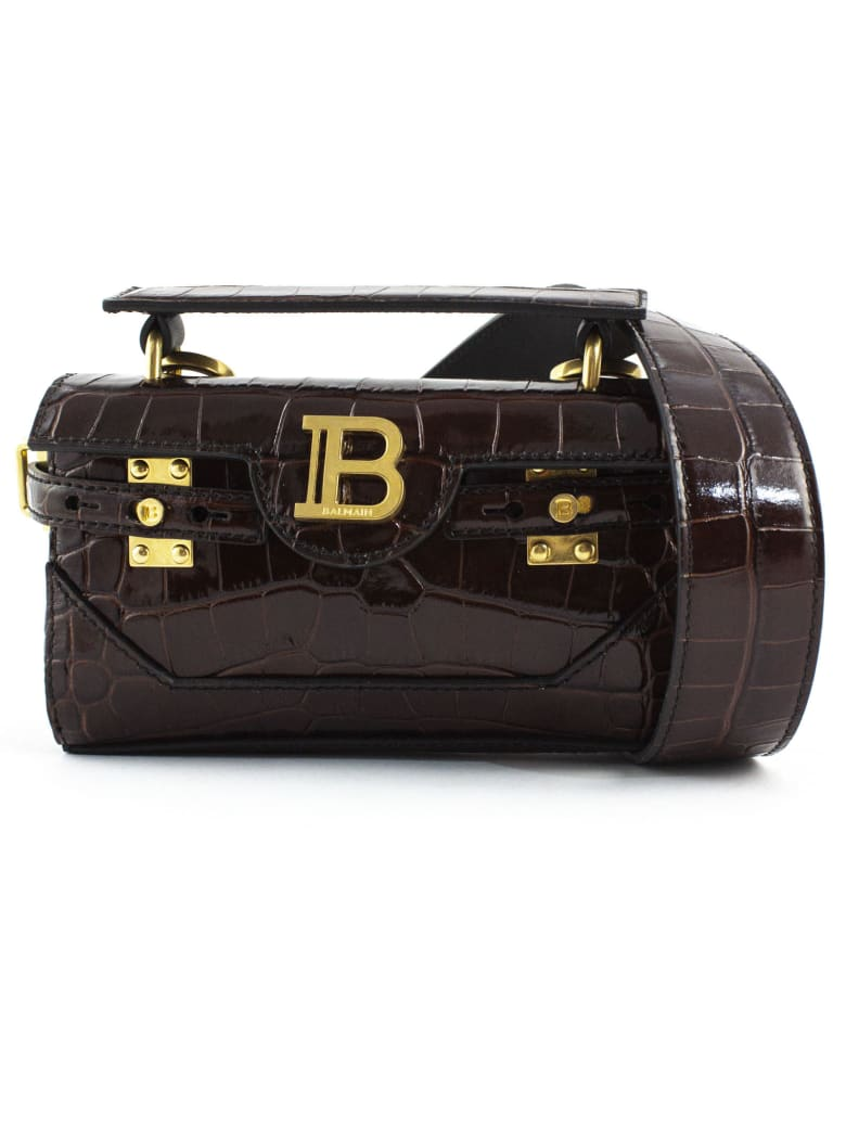 Balmain Dark Brown B-buzz 19 Baguette Bag - Marrone