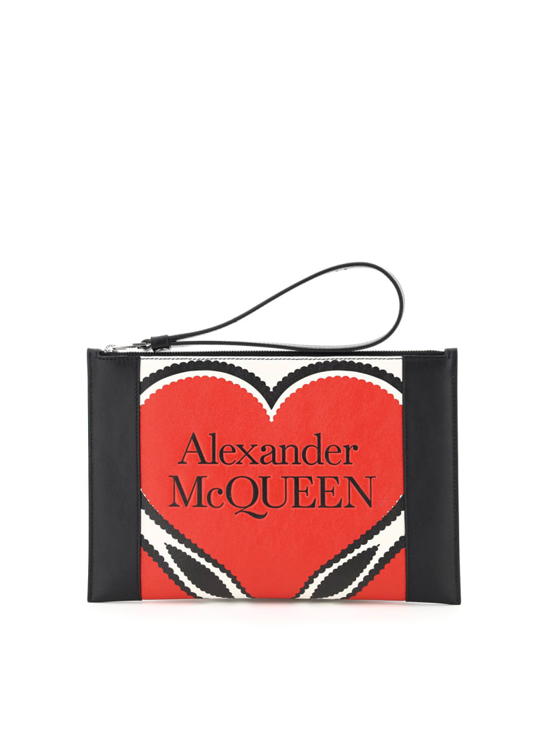 Alexander McQueen Leather Pouch Heart Print - MULTICOLOR