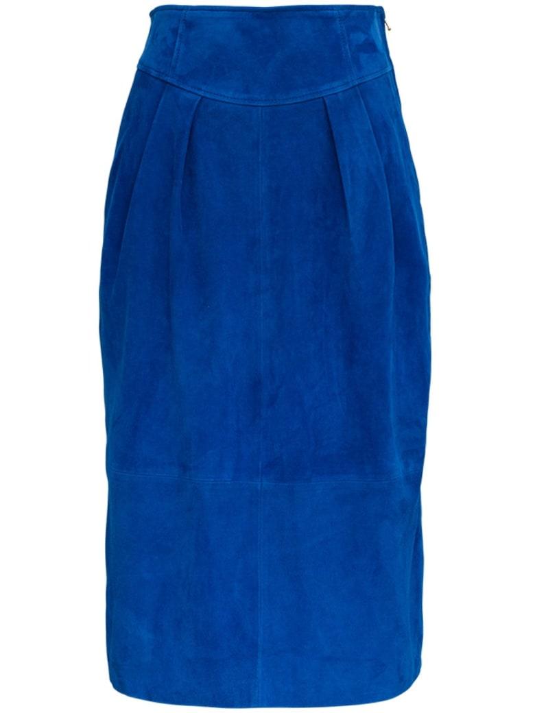 Alberta Ferretti Long Blue Suede Skirt - Blu
