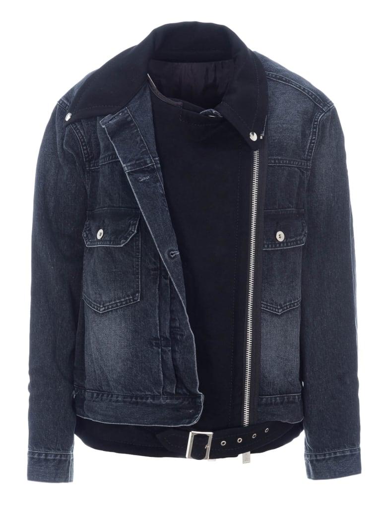 Sacai Biker Denim Jacket - DENIM BLUE