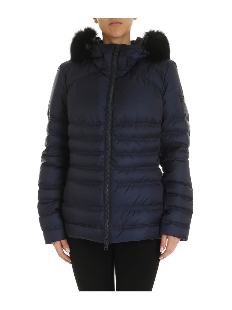Peuterey Jacket Bell Mq Fur In Quilted Fabric Color Blue - BLUE