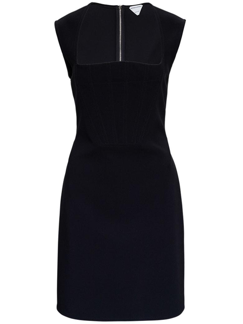 Bottega Veneta Viscose Silk Dress With Cape Sleeves - Nero