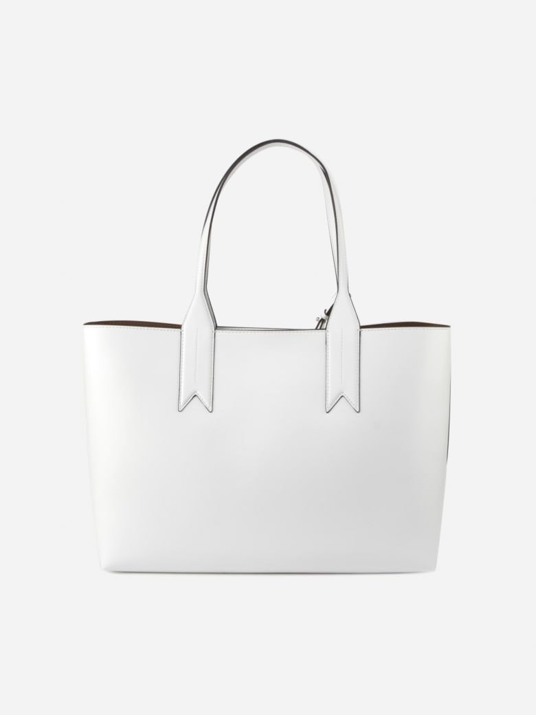 Emporio Armani Shopper Bag With Logoed Charm Detail - Grigio