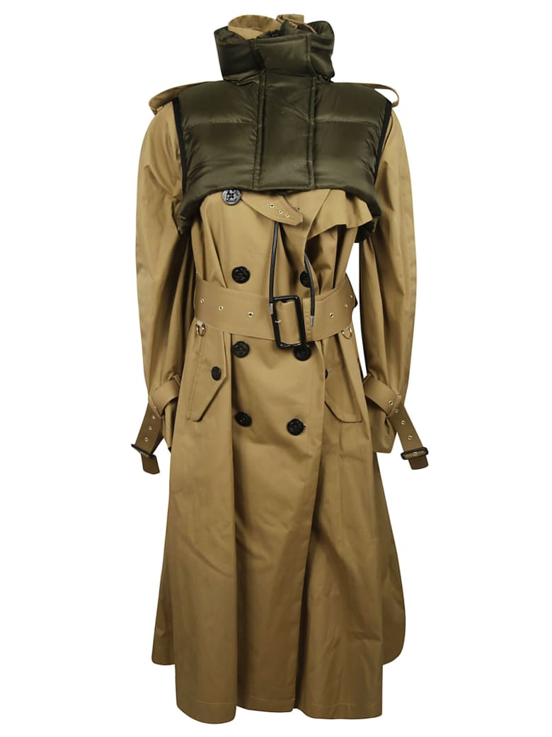 Sacai Funnel Neck Trench - Beige
