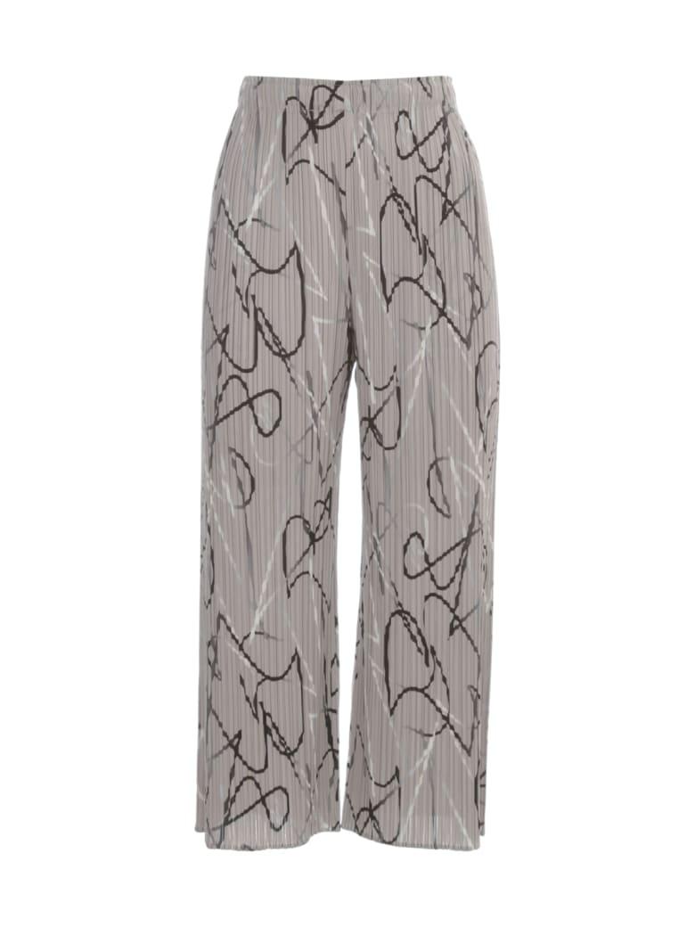 Pleats Please Issey Miyake Wide Cropped Pants - BROWN