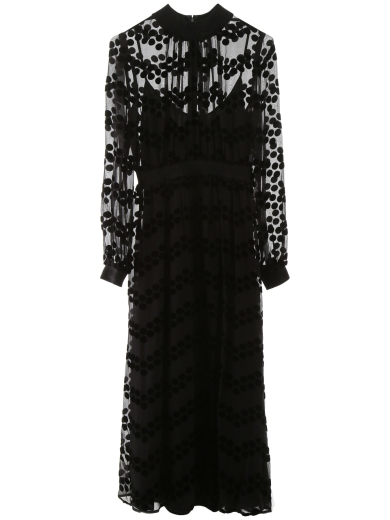 Tory Burch Midi Dress With Velvet Polka Dots - PRINTED VELVET BURNOUT (Black)