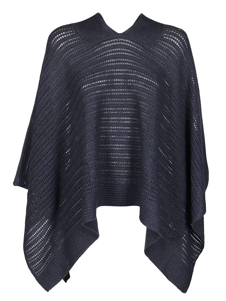 Agnona Dark Indigo Cashmere-linen Blend Cape - DARK INDIGO