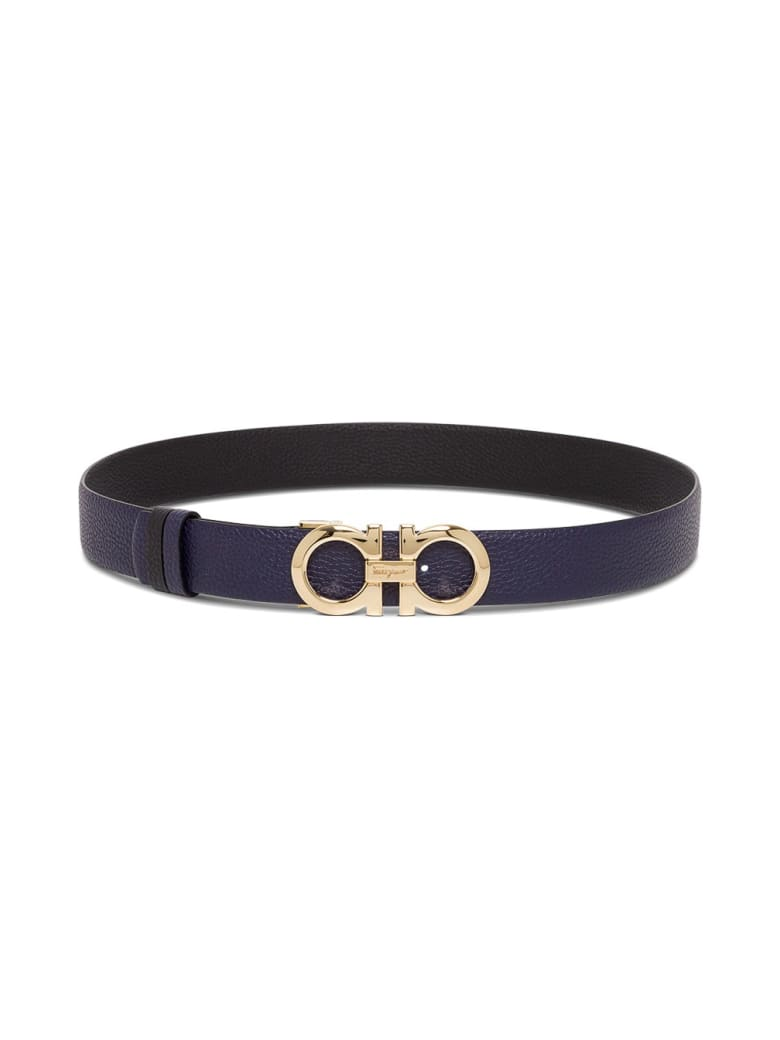 Salvatore Ferragamo Reversible Gancini Leather Belt - Black