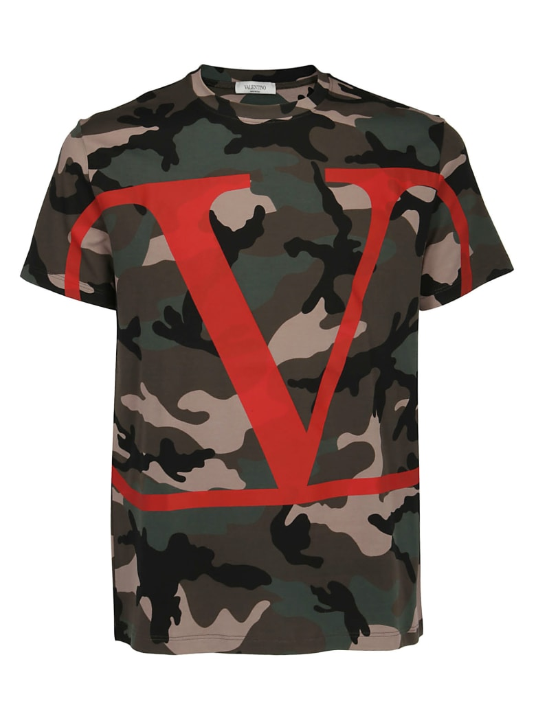 Valentino T-shirt - Camou army/rosso