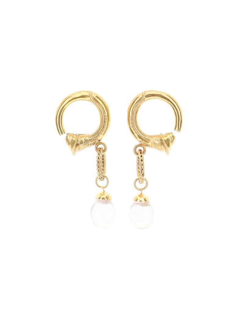 Patou Small Pearl Hoop Earrings - GOLD STONES