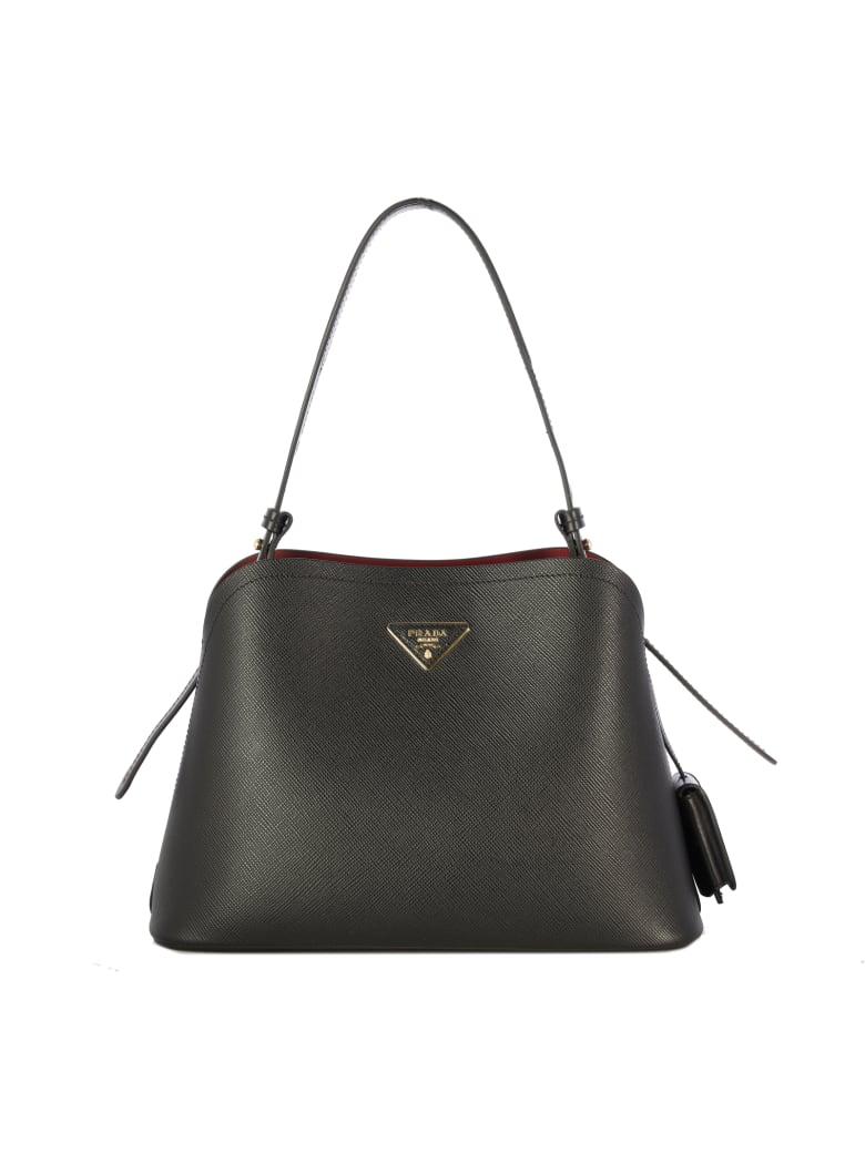 Prada Small Promenade Leather Shoulder Bag - Black Cerise
