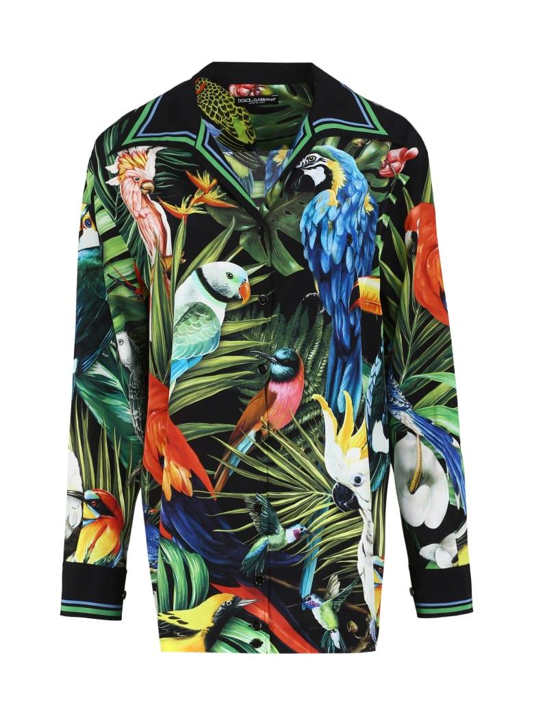 Dolce & Gabbana Oversize Printed Silk Shirt - black
