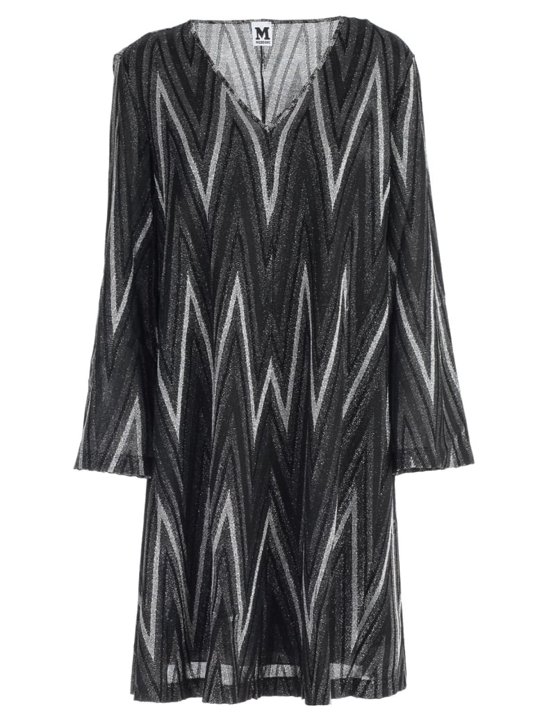 M Missoni Dress L/s Jersey Lurex - H Nero Argento