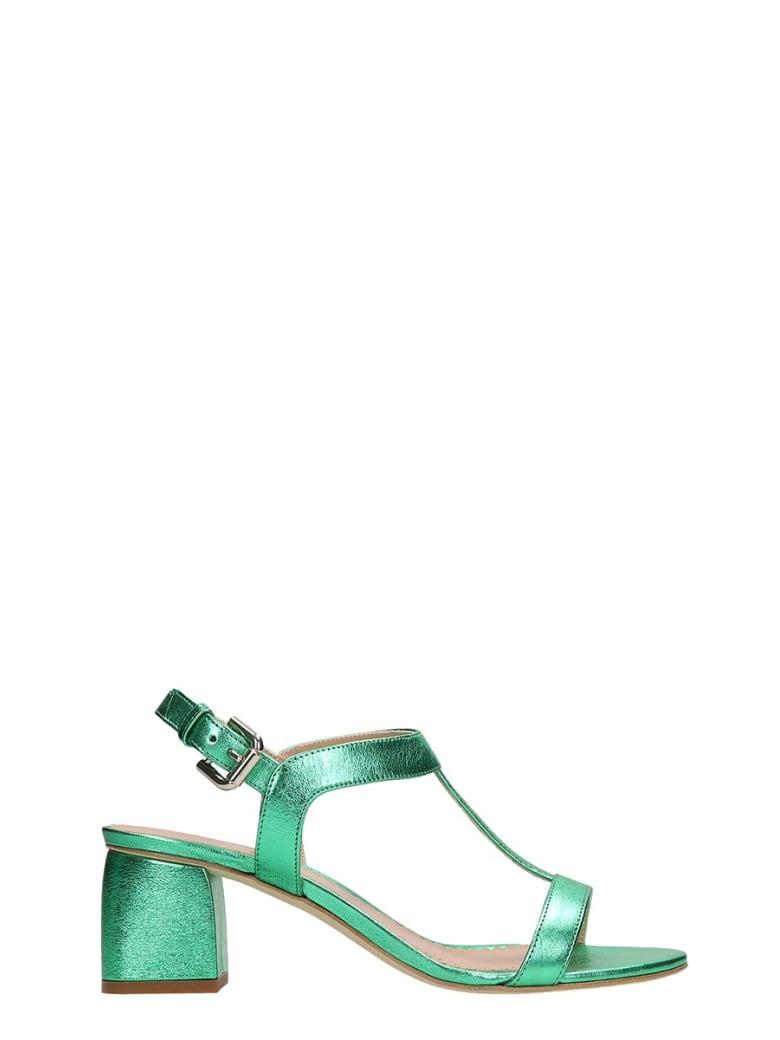 Julie Dee Green Metal Leather Sandals - green