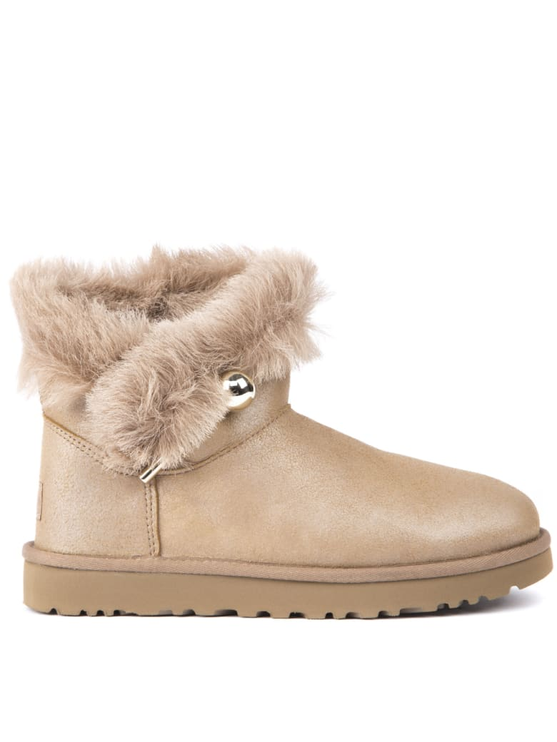 UGG Classic Fluff Sheep Leather Ankle Boots - Beige