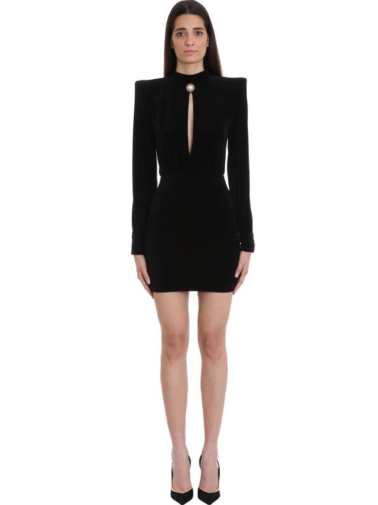 Balmain Black Velvet Short Dress - black