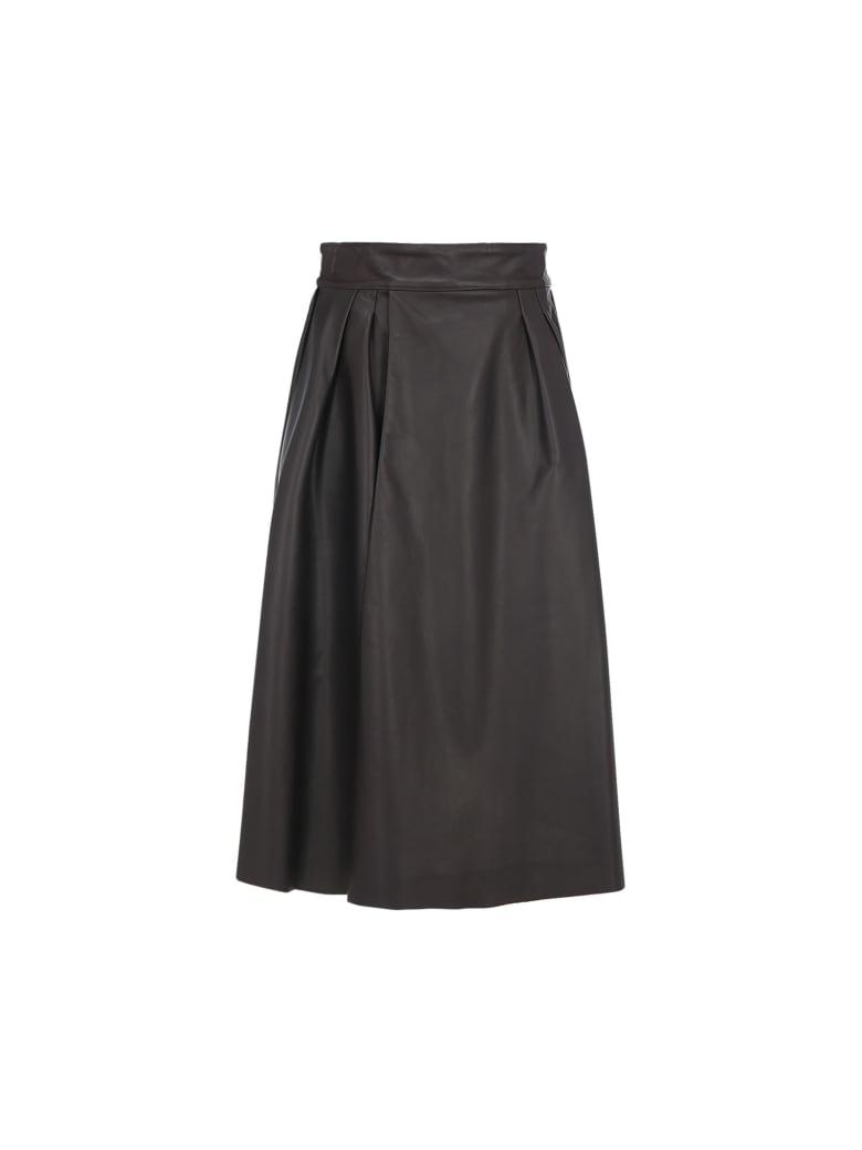 Dolce & Gabbana Dolce&gabbana Leather Skirt - Marrone scuro