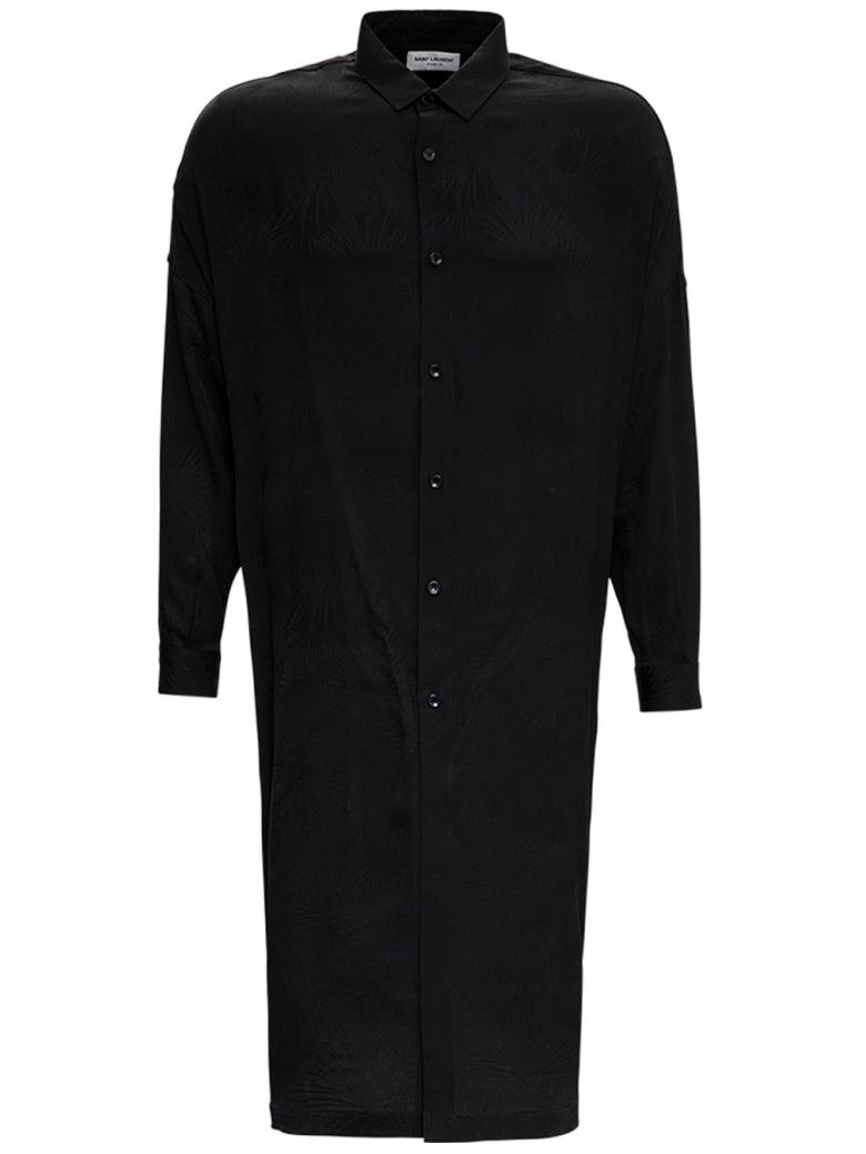 Saint Laurent Long Boxy Shirt In Silk Jungle Jacquard - Black