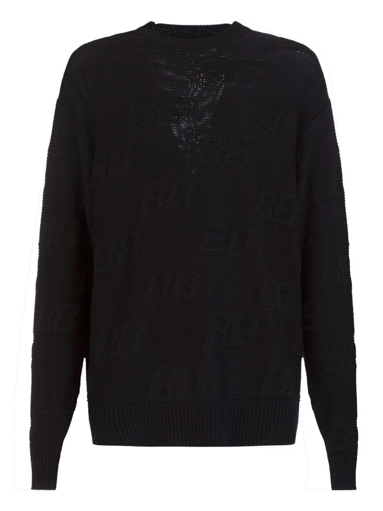 Balenciaga Jacquard Logo All-over Sweater - NERO